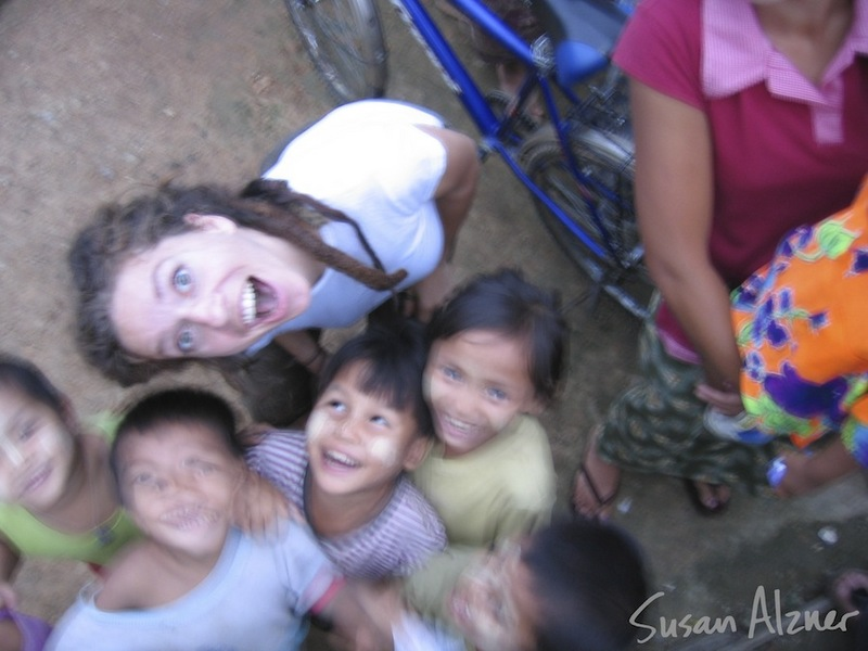 Ani DiFranco visits with Burmese refugee children living near Mae Sot, Thailand