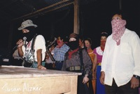 Comandante Tatcho speaks to the audience before Indigo Girls and Michelle Malone perform for the Zapatista village of La Realidad in Chiapas, Mexico