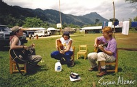 Indigo Girls and Michelle Malone rehearse for their performance in the Zapatista village of La Realidad in Chiapas, Mexico