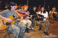 Indigo Girls and Michelle Malone perform for the Zapatista village of La Realidad in Chiapas, Mexico. Sara Lee serves as the mobile mic stand!