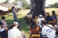 Indigo Girls and friends are briefed by Cynthia Rodriguez during their visit to the Zapatista village of La Realidad in Chiapas, Mexico