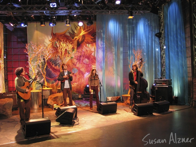 Ani DiFranco, Andrew Bird, Noe Venable and Todd Sickafoose rehearsing for the Late Night with Jay Leno show